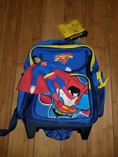 Superman School Backpack with Wheels New DC COMICS  1G CHILDS BAG KIDS 14""