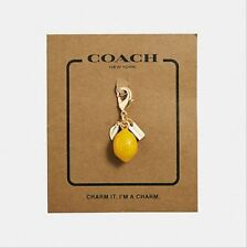 New With Tag Coach Glitter LEMON Key Chain/Bag Yellow and Gold Charm F35468