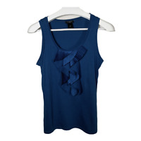 Ann Taylor Womens Top Scoop Neck Sleeveless Tank Ruffles Blue Work Size Small