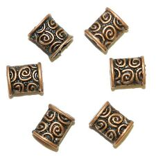 MB3151p Antiqued Copper 8mm Flat Puffed Rectangle Metal Alloy Beads 25/pkg