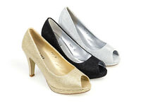 WOMENS LADIES PEEP TOE PLATFORM HIGH HEEL GLITTER COURT PARTY SHOES SIZE 3 - 8