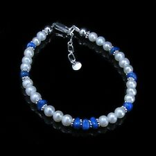 PETITE .925 Sterling Silver Natural Blue Lapis Lazuli White Pearl Bracelet