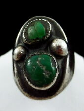 VINTAGE SOUTHWESTERN SILVER GREEN TURQUOISE RING SZ 9 1/2