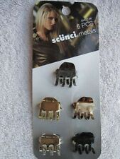 """5 Scunci Metals 3/4"""" Hair Jaw Claw Clips Conair Metallic Less Slip Better Hold"""
