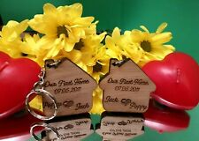Personalised Engraved Wooden Oak House Our First Home Keyrings