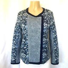 Nanette Lepore Blue Print Jacket Blazer Lightweight Quilted Cotton M Long Sleeve