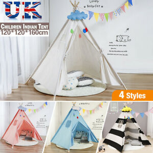Large Children Indian Tent Canvas Teepee Wigwam Indoor Outdoor Kids Play House