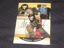WENDELL YOUNG PENGUINS 1990 PRO SET #512 HAND SIGNED AUTOGRAPHED NHL HOCKEY CARD