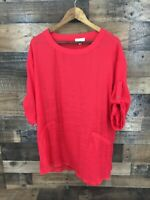 Umgee Women's Red Sheer Pocketed Tab Sleeve Tunic Top Size Small