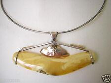 925 Silber/585 Gold Kreuz Anhänger Collier Butterscotch Natur Bernstein Amber