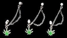 "5 Fancy Dangle Tragus Ear Ring Chain Pot Leaf 16g 1/4"" Gemstone CZ Wholesale 263"