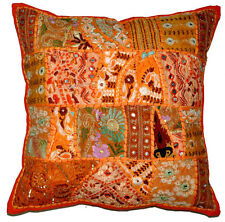 24x24 Indian Patchwork Pillow Cover Orange Bohemian Pillow Indian floor cushion