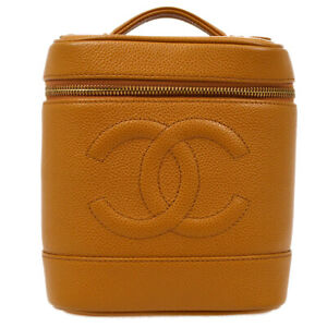 CHANEL CC Cosmetic Vanity Hand Bag 8103459 Purse Brown Caviar Skin Leather 10065