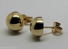 Genuine 9ct 9k Solid Yellow Gold 10mm Stud Half Ball Earrings