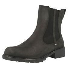 Ladies Clarks Orinoco Club Black Leather Pull on Ankle BOOTS UK 5.5 D Fitting