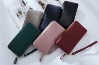 Lady Quality Vintage Large Zipped Leather Wallet Phone Case  Purse Long Clutch