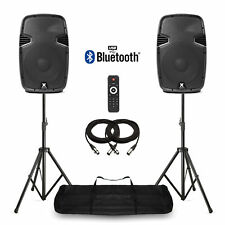 """12"""" Bluetooth Active Powered Speakers + Stands USB MP3 DJ PA Disco Party 1200W"""