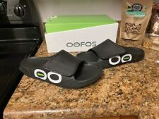 OOFOS Ooahh Sport Flex Slides Therapeutic Comfy Sandals Black White
