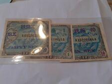 MILITARY CURRENCY JAPAN 3 NOTES /BILLETS JAPON