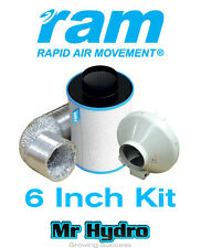 """6"""" inch 150mm RAM Inline Fan & Pro Carbon Filter Extraction Kit"""
