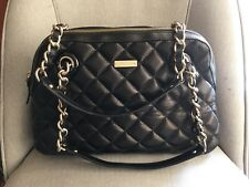 New KATE SPADE Black Leather Maryanne Quilted Bag 10k Gold Chains Strap