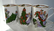 3 Vintage Fitz & Floyd Christmas Mugs/Cups  Deck the Halls ,Excellent