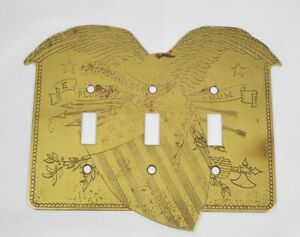 Vintage Triple Switch Plate Cover Engraved Brass Patriotic USA Eagle