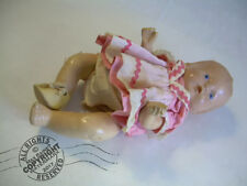 """Antique ALL Composition BABY DOLL 9"""" SWEET 1920s Original Clothes + 1 shoe TLC"""