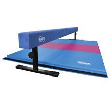 Blue Adjustable Height Balance Beam with Pink and Light Blue Gymnastics Mat