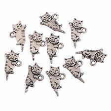 10pcs Cute Cat Alloy Beads Charms Tibetan Silver Pendant DIY Bracelet 20*9mm