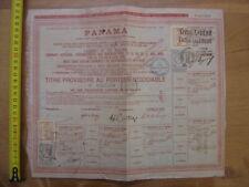 1888 Bond Action Emprunt CANAL DE PANAMA TITRE PROVISOIRE AU PORTEUR NEGOCIABLE
