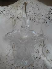 Vntg LG.Crystal Etched Cut Glass Scalloped Brides Basket Vase w/Applied Handle