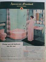 1952 American Standard bathroom design pink tub toilet sink woman lingerie ad