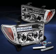 2007-2013 TUNDRA/2008-2015 SEQUOIA TRUCK HALO LED CLEAR PROJECTOR HEAD LIGHT+DRL