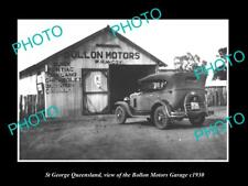 OLD LARGE HISTORIC PHOTO OF ST GEORGE QUEENSLAND THE BOLLON MOTOR GARAGE c1930