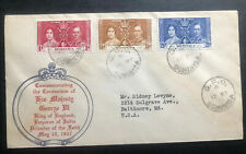 1937 Dominica First Day Cover King George VI Coronation KGVI To Baltimore MD USA