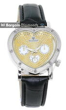 ladies diamond silver heart party clubbing watch gold bling dial leather