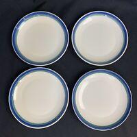 4 Pfaltzgraff Northwinds Green Blue Bands Dessert Salad Plates USA VIntage 90s