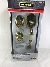 Defiant Springfield Single Cylinder Polished Brass Door Handleset Mushroom Knob
