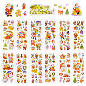 12Pack Mixed Style Christmas Stickers Kids Xmas Craft Gift Home Decoration DIY