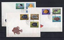 PÖLOGNE lot de 3 enveloppes 1er jour thématique série POISSONS N° 1598/1606 1967