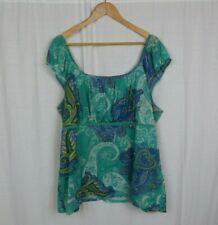 Venezia Women's Cap Sleeve Scoop Neck Blouse Shirt Paisley Print Size 22/24