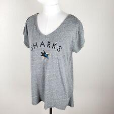 🏒 San Jose Sharks Womens Lg V-Neck T-Shirt NHL Official Souvenir Heathered Gray