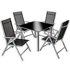 Aluminio conjunto muebles de jardin 4+1 silla adjustable mesa cristal plata