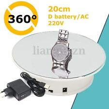 8'' Top Mirror Glass 360° Rotating Rotary Display Stand Turntable Battery Power