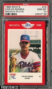 1988 Rock's #15 Wichita Pilots Carlos Baerga PSA 10 GEM MT