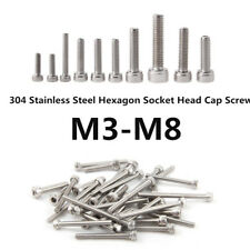 New 304 Stainless Steel Screws Hex Bolts Socket M3 M4 M5 M6 M8 size 5mm-60mm