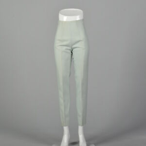 XXS 1960s Mint Cigarette Pants High Waisted Green Trousers Pastel Spring 60s VTG