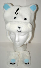 Cute Fuzzy Polar Bear Winter Cap & Gloves New Toddler & Infant Mitten Hat Set