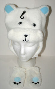 Cute Fuzzy Polar Bear Winter Cap & Gloves New Toddler & Infant Mitten Hat Set